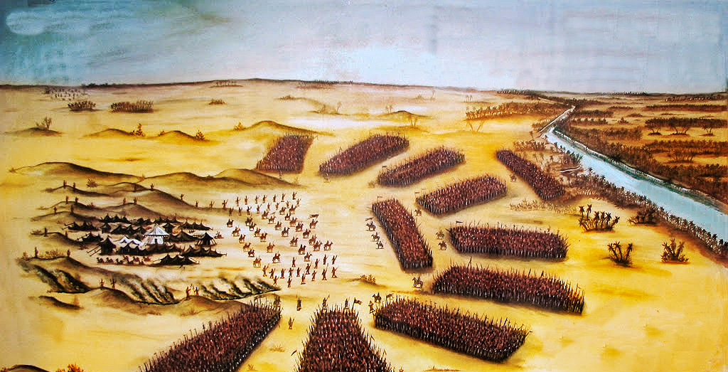 Illustration of the battle map where Hussain and his camp had been encircled by an army